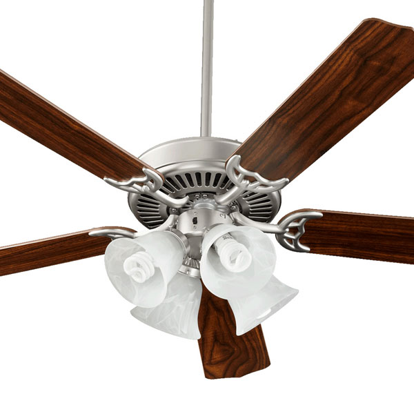 Hot deals on lighting and fans turney lighting and electric 52 5 blade ceiling fan in satin nickel with walnut blades aloadofball Images